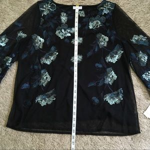 Charter Club Tops - NWT Charter Club Black Embroidered Floral Blouse